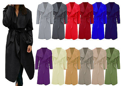 Women Italian Long Duster Coat Ladies French Belted Trench Waterfall Jacket 8-26