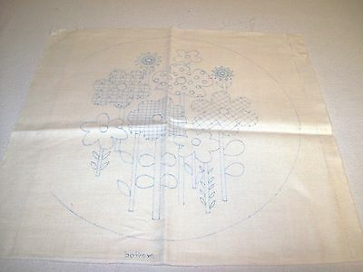 Unfinished Stamped Embroidery Pattern for Round Pillow with Flowers