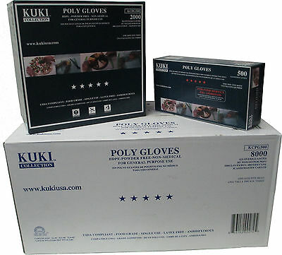 Poly Disposable Food Service Gloves - 8000 Gloves Master Case - Kuki Collection