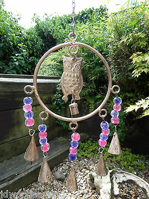 Fair Trade Hand Made Recycled Metal Owl Bird Bells Windchime Wind Chime Mobile