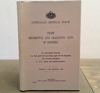 1914 Reprint AIF Staff Regimental and Gradation Lists of Officers 1st Division