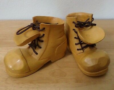 VINTAGE Pair Carved Wood Boots. Whittled Boot Shoe. Laces. 1980 Signed.