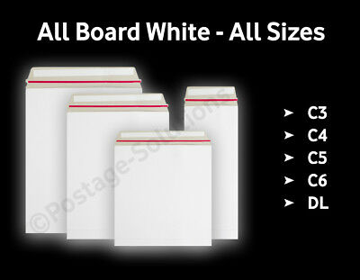 White ALL board Sturdy Envelopes All Sizes Over Quick Delivery Best Quality