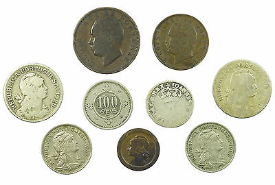 Portugal, Collection Of 9 Coins, Inc Silver, 1884-1965