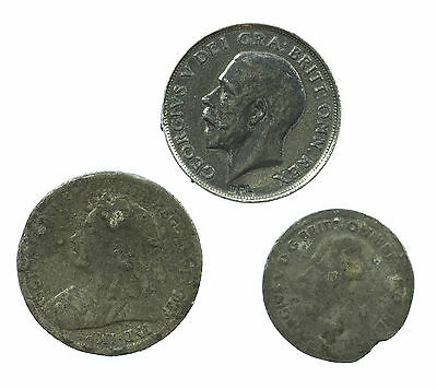 Great Britain, 3 Contemporary Counterfiet Coins, Struck In Lead, Shilling & 6D