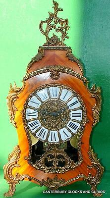 Vintage Louis Xvi Style 8 Day Ormolu Boulle Rococo Walnut Mantle Bracket Clock