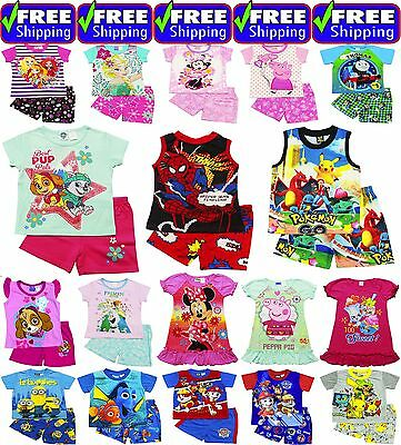 NEW Sz 1~12 KIDS PYJAMAS SUMMER BOYS PJ PJS SLEEPWEAR TOP TSHIRT TEE PAW GIRLS