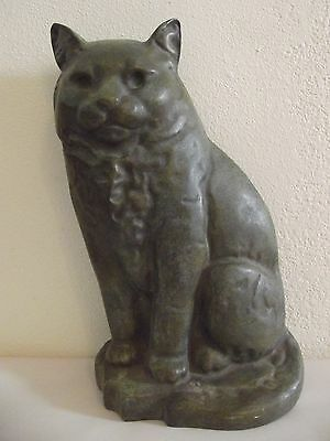 House Parts Inc Large Green Stone Cat Doorstop Bookend Figurine Heavy........71V