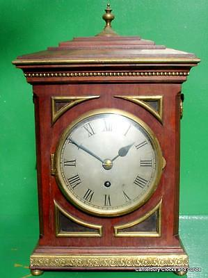 ANTIQUE ENGLISH MAHOGANY 8 DAY FUSEE BRACKET MANTLE CLOCK 1850c SERVICED
