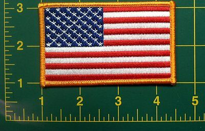 AMERICAN FLAG PATCH GOLD BORDER -USA - PATRIOTIC - Embroidered Applique Patch