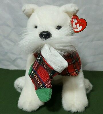 "TY  12"" 2007 NWT  White Puppy Dog with Christmas Stocking Plush Stuffed Animal"