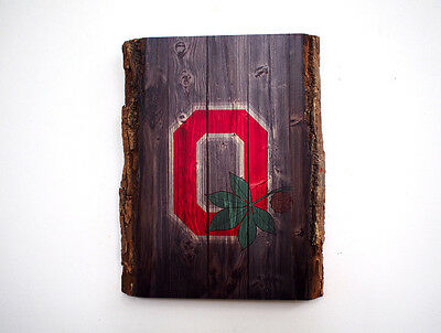 OHIO STATE Wood Sign - Natural Edge Wooden Plaque with Buckeyes Logo