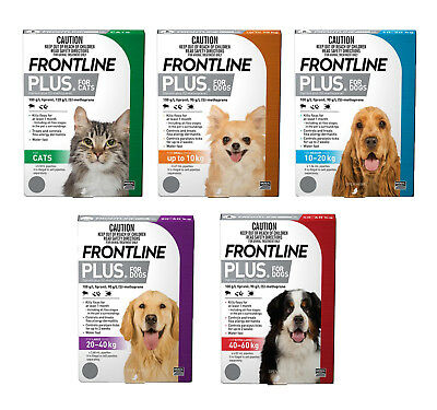 Frontline Plus Dogs and Cats All Sizes Flea Control for Cats & Dogs 3 or 6 Tubes
