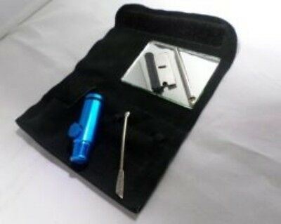 SNUFF SUEDE KIT With Metal Snuff Bullet,Razor blade,double sided spoon and more.