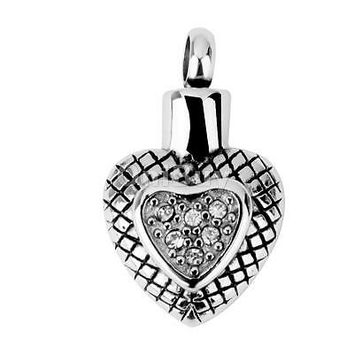 Double Coeur Collier Holder Crémation Pendentif Keepsake Ash Jewelry