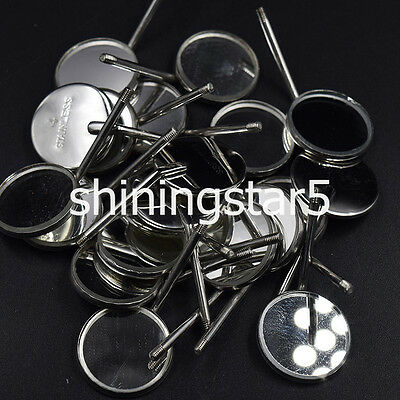 50 Pcs Dental Orthodontic Stainless Steel Mouth Mirrors 4#  Plain Size Reflector