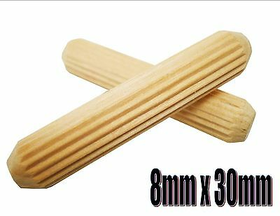 M8 / 8mm WOODEN DOWELS HARDWOOD FLUTED GROOVED DOORS CUPBOARDS CRAFTS