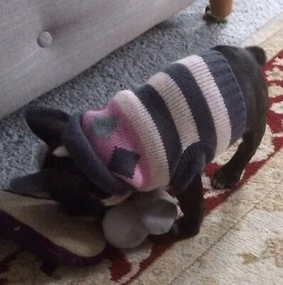 Chihuahua (XS) Christmas Jumper Pink & Black Diamond Knitted Sweater Pet Clothes