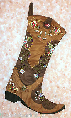 NEW~Cowboy Boot Christmas Stocking Floral Embroidery Cowgirl Western