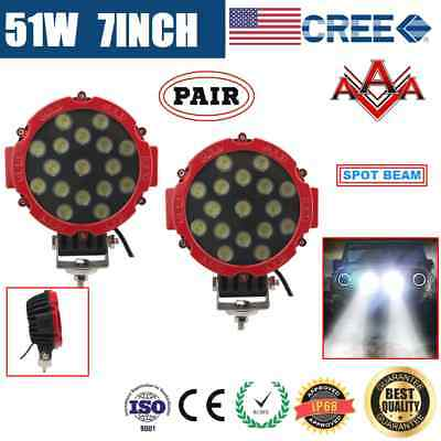 2x 7inch 51W CREE LED DRIVING LIGHT OFFROAD SPOTLIGHT WORK LIGHT LAMP 102W-RED