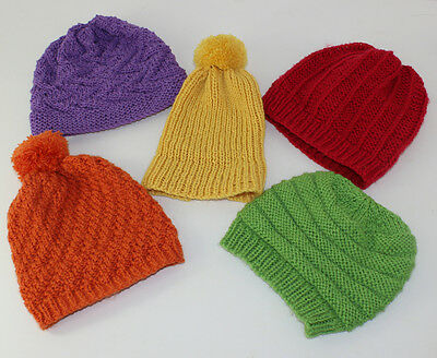 Printed Knitting Instructions-5 Easy Design Baby Beanie Hats Knitting Pattern