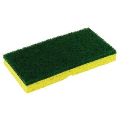 Medium Duty Scrubbing Sponge, Green/Yellow, Commercial Size 10 Sponges/Pack