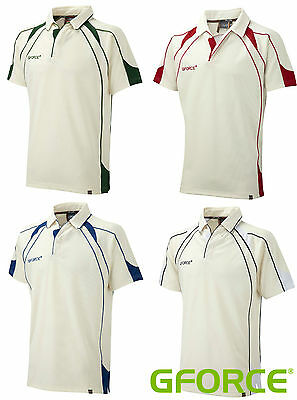 NEW Mens GFORCE CRICKET SHIRT Top Jersey Whites Clothing Adults Kit