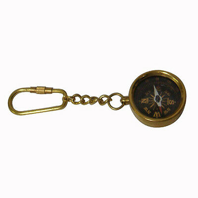 Brass Nautical Pocket Key Ring Compass With 7cm Folding Wooden Box