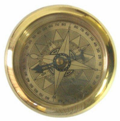 Nautical Brass Paper Weight Compass Set With Magnifying Glass and Wooden Box