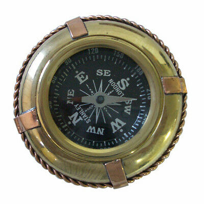 Nautical Brass Compass Life Tube Set With Folding Wooden Box