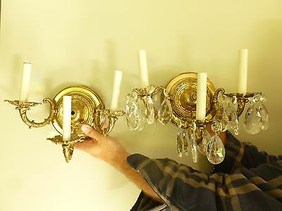 Pair of Vintage 3 Arms Brass Sconces w/ 6 Prisms Each