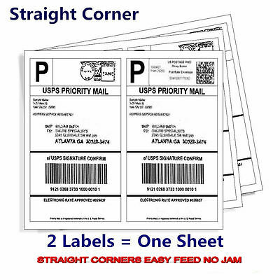 400 8.5x5.5-Premium Shipping-Labels-Half-Sheet-Self-Adhesive-USPS-UPS-FedEx USA