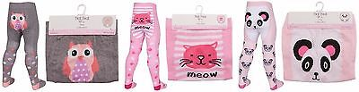 Baby Girls Tick Tock Pink Grey Novelty Animal Cat Panda Owl Cotten Tights 45B112