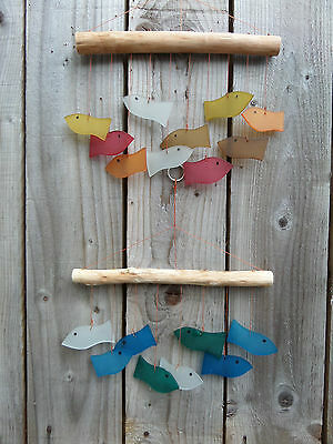 Fair Trade Hand Made Glass Fish Bathroom Garden Wind Chime Windchime Colours