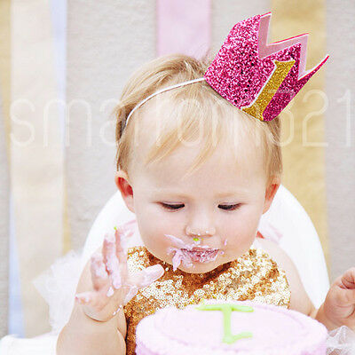 Glitter Gold Silver Boys Girls 1st Birthday Crown Hat Photo Prop 2-9 Years Party