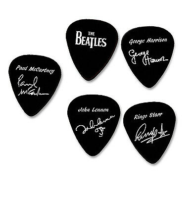 THE BEATLES full set of 6 autograph stamped printed plectrum guitar picks signed