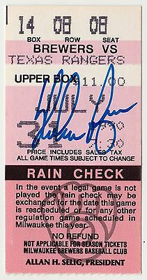 NOLAN RYAN Signed Autographed Ticket Stub from 300th Win, Nolan Ryan Holo