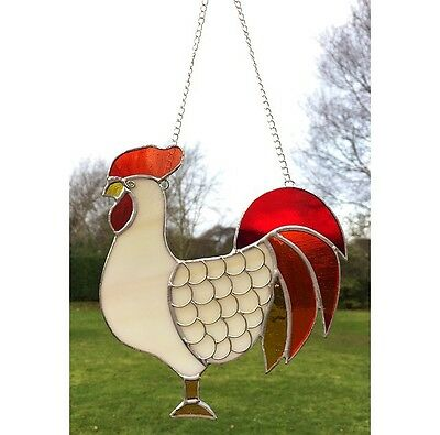 Handmade Stained Glass Cockerel Chicken  Suncatcher Red Orange Glass