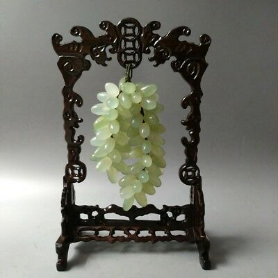 Exquisite Chinese natural Xiuyan jade hand carved grape statue