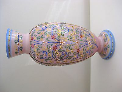 Antique Austrian Pink/White Glass Vase With Beautiful Enamel Work