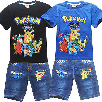 new Boys sets POKEMON Pikachu summer outfit denim kids clothing size 3-8 in AU