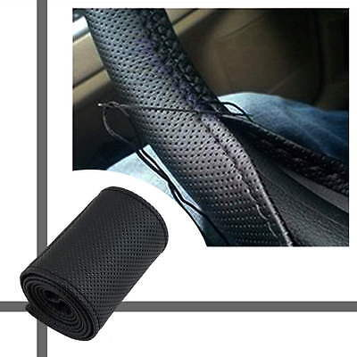 Black PU Leather Car Truck Auto Steering Wheel Cover With Needles and Thread SY