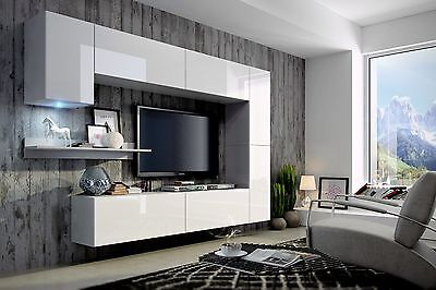 Wall Unit Concept 6 Mounted Floating Furniture Cabinet | TV stand Cupboard | LED