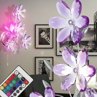 Design RGB LED children's room wall lighting flowers color change remote control
