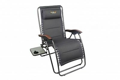 NEW Oztrail  Coogee Sun Lounge With Side Table - Camping Chairs & Beds
