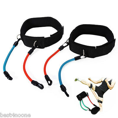 Adjustable Leg Strength Resistance Kinetic Tube Bands Training Workout Fitness
