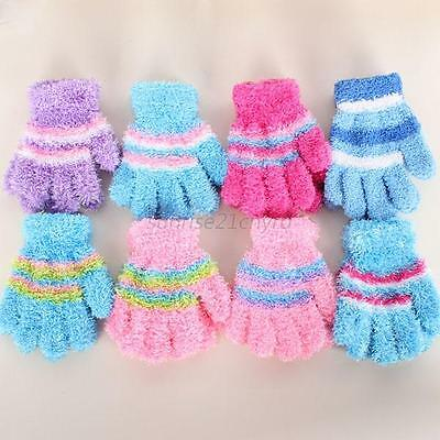 Infants Kids Baby Warm Winter Gloves Toddler Boy Girl  Striped Mittens 8 Colors
