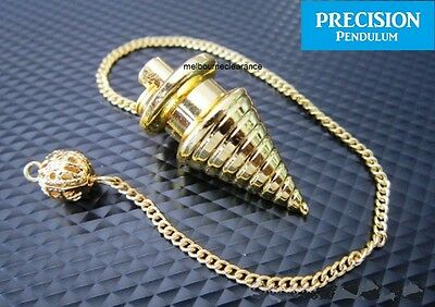 Golden Solid Metal Psychic Wave Precision Pendulum with Chain Dowsing Divination