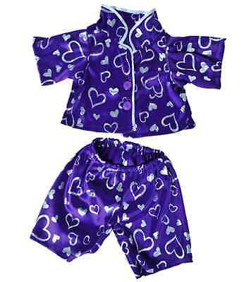 "Purple Heart Pyjamas outfit / clothes to fit 16"" build a bear factory bears"