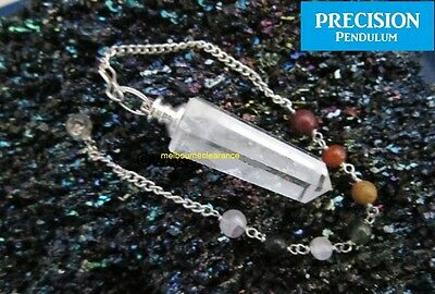 Crystal Quartz Obelisk Precision Pendulum + Chakra Beaded Chain Healing Energy
